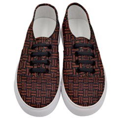 Woven1 Black Marble & Reddish Brown Leather (r) Women s Classic Low Top Sneakers