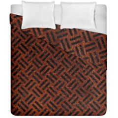 Woven2 Black Marble & Reddish Brown Leather Duvet Cover Double Side (california King Size) by trendistuff