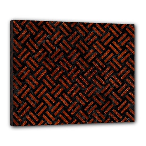 Woven2 Black Marble & Reddish Brown Leather (r) Canvas 20  X 16  by trendistuff