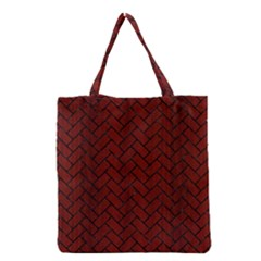 Brick2 Black Marble & Reddish Brown Wood Grocery Tote Bag by trendistuff