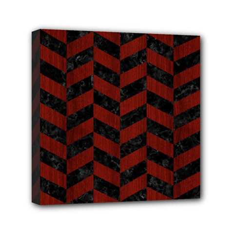 Chevron1 Black Marble & Reddish Brown Wood Mini Canvas 6  X 6  by trendistuff