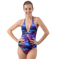 Abstract Shiny Night Lights 2 Halter Cut Out One Piece Swimsuit