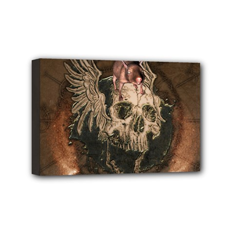 Awesome Creepy Skull With Rat And Wings Mini Canvas 6  X 4  by FantasyWorld7