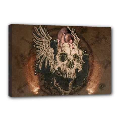 Awesome Creepy Skull With Rat And Wings Canvas 18  X 12  by FantasyWorld7