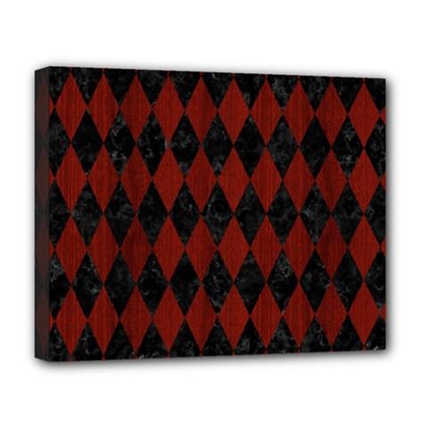 Diamond1 Black Marble & Reddish Brown Wood Deluxe Canvas 20  X 16   by trendistuff