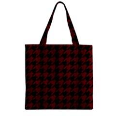 Houndstooth1 Black Marble & Reddish Brown Wood Zipper Grocery Tote Bag by trendistuff