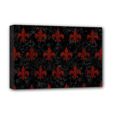 Royal1 Black Marble & Reddish Brown Wood Deluxe Canvas 18  X 12   by trendistuff