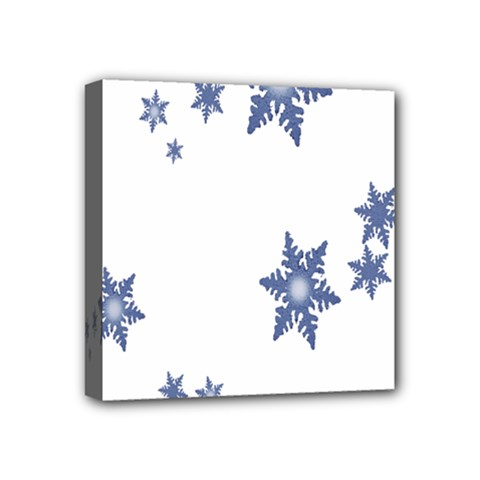 Star Snow Blue Rain Cool Mini Canvas 4  X 4  by AnjaniArt