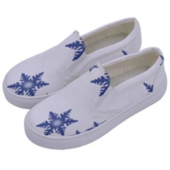 Star Snow Blue Rain Cool Kids  Canvas Slip Ons by AnjaniArt