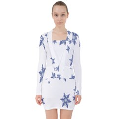 Star Snow Blue Rain Cool V Neck Bodycon Long Sleeve Dress by AnjaniArt