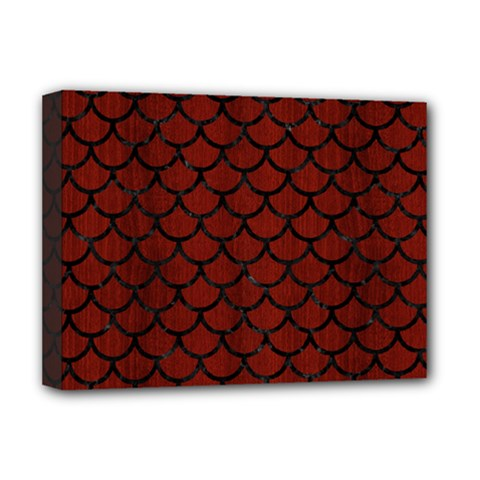 Scales1 Black Marble & Reddish Brown Wood Deluxe Canvas 16  X 12