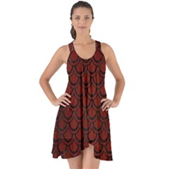 Scales2 Black Marble & Reddish Brown Wood Show Some Back Chiffon Dress by trendistuff
