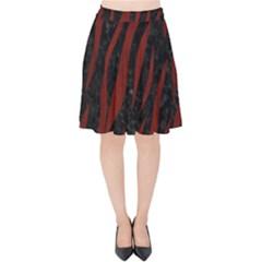 Skin3 Black Marble & Reddish Brown Wood (r) Velvet High Waist Skirt by trendistuff