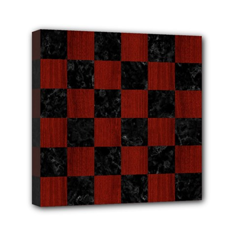 Square1 Black Marble & Reddish Brown Wood Mini Canvas 6  X 6  by trendistuff