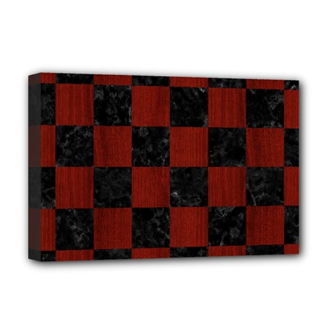 Square1 Black Marble & Reddish Brown Wood Deluxe Canvas 18  X 12   by trendistuff