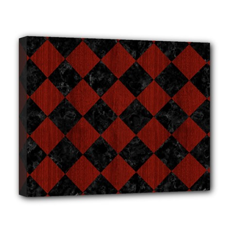 Square2 Black Marble & Reddish Brown Wood Deluxe Canvas 20  X 16   by trendistuff