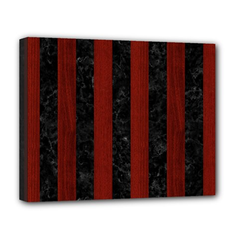 Stripes1 Black Marble & Reddish Brown Wood Deluxe Canvas 20  X 16   by trendistuff