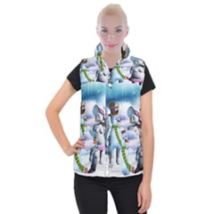 Funny, Cute Snowman And Snow Women In A Winter Landscape Women s Button Up Puffer Vest