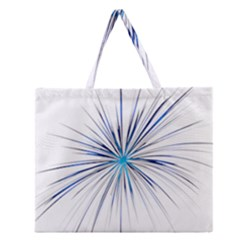 Fireworks Light Blue Space Happy New Year Zipper Large Tote Bag by AnjaniArt