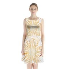 Fireworks Light Yellow Space Happy New Year Sleeveless Waist Tie Chiffon Dress by AnjaniArt
