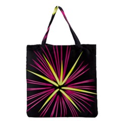 Fireworks Pink Red Yellow Black Sky Happy New Year Grocery Tote Bag by AnjaniArt