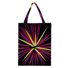 Fireworks Pink Red Yellow Black Sky Happy New Year Classic Tote Bag by AnjaniArt