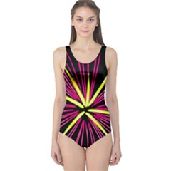 Fireworks Pink Red Yellow Black Sky Happy New Year One Piece Swimsuit by AnjaniArt