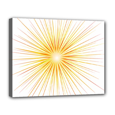 Fireworks Light Yellow Space Happy New Year Red Canvas 14  X 11  by AnjaniArt