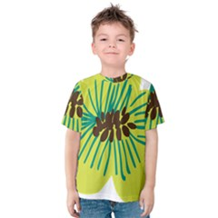 Flower Floral Green Kids  Cotton Tee by AnjaniArt