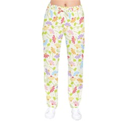 Flower Rainbow Sexy Leaf Plaid Vertical Horizon Drawstring Pants by AnjaniArt