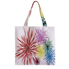 Happy New Year City Semmes Fireworks Rainbow Red Blue Yellow Purple Sky Zipper Grocery Tote Bag by AnjaniArt
