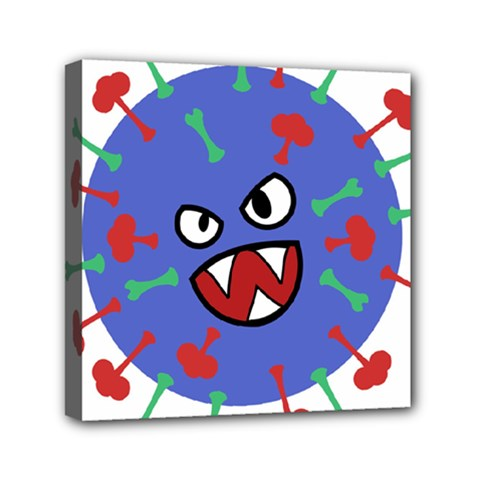 Monster Virus Blue Cart Big Eye Red Green Mini Canvas 6  X 6  by AnjaniArt