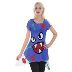 Monster Virus Blue Cart Big Eye Red Green Short Sleeve Side Drop Tunic by AnjaniArt