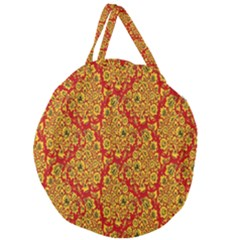 Flower Rose Red Yellow Sexy Giant Round Zipper Tote by AnjaniArt