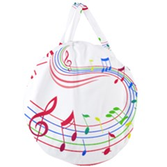 Rainbow Red Green Yellow Music Tones Notes Rhythms Giant Round Zipper Tote by AnjaniArt
