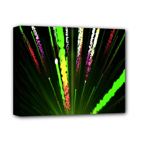 Seamless Colorful Green Light Fireworks Sky Black Ultra Deluxe Canvas 14  X 11  by AnjaniArt