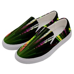 Seamless Colorful Green Light Fireworks Sky Black Ultra Men s Canvas Slip Ons by AnjaniArt