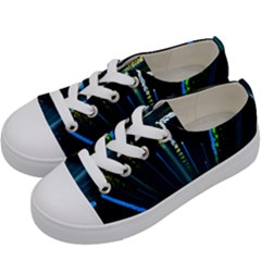 Seamless Colorful Blue Light Fireworks Sky Black Ultra Kids  Low Top Canvas Sneakers by AnjaniArt