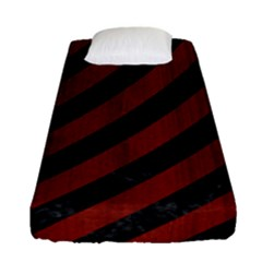 Stripes3 Black Marble & Reddish Brown Wood (r) Fitted Sheet (single Size) by trendistuff