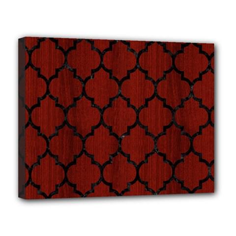 Tile1 Black Marble & Reddish Brown Wood Canvas 14  X 11