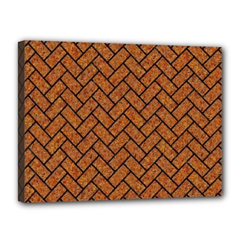 Brick2 Black Marble & Rusted Metal Canvas 16  X 12  by trendistuff