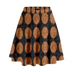 Circles1 Black Marble & Rusted Metal (r) High Waist Skirt by trendistuff