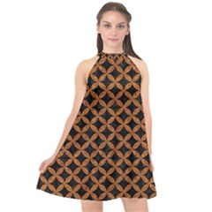 Circles3 Black Marble & Rusted Metal (r) Halter Neckline Chiffon Dress  by trendistuff