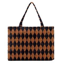 Diamond1 Black Marble & Rusted Metal Zipper Medium Tote Bag by trendistuff