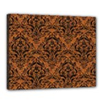 DAMASK1 BLACK MARBLE & RUSTED METAL Canvas 20  x 16