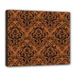DAMASK1 BLACK MARBLE & RUSTED METAL Deluxe Canvas 24  x 20