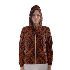 Damask1 Black Marble & Rusted Metal Hooded Wind Breaker (women) by trendistuff