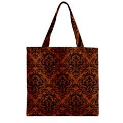 Damask1 Black Marble & Rusted Metal Zipper Grocery Tote Bag by trendistuff