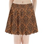 DAMASK1 BLACK MARBLE & RUSTED METAL Pleated Mini Skirt