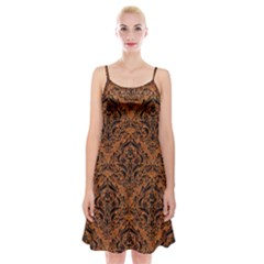 Damask1 Black Marble & Rusted Metal Spaghetti Strap Velvet Dress